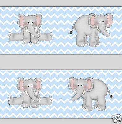 Blue Grey Gray Chevron Elephant Wallpaper Border Wall Decals Baby Boy Nursery