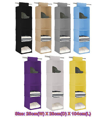 4 shelf Closet Hanging Organizer Wardrobe Storage Bin Bag Box Drawer cc