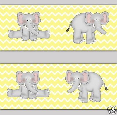 Yellow Grey Chevron Elephant Wallpaper Border Wall Decals Boy Girl Nursery Decor