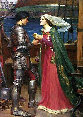 J.W Waterhouse - Tristan and Isolde - A3 QUALITY Canvas Print 29.7x42cm Unframed