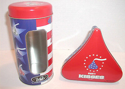 Set of 2 Hershey Kisses Candy 100th Anniversary Patriotic American Flag Tins