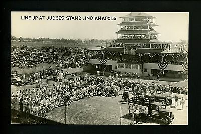Car Auto Racing real photo postcard RPPC Indy 500 IN Line Up Judges Stand 1928