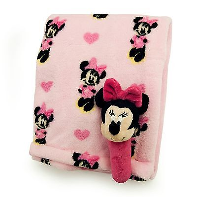 MINNIE MOUSE Disney 2 Pc Baby Fleece Blanket and Rattle Set BRAND NEW