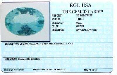 Natural 1.08ct oval cut green EGL USA certified apatite very nice stone
