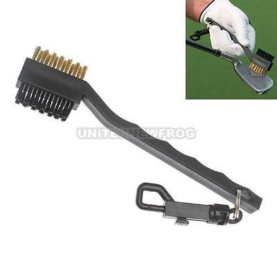 UN3F 2 Sided Brass Wires Nylon Golf Club Brush Groove Cleaner Kit Black