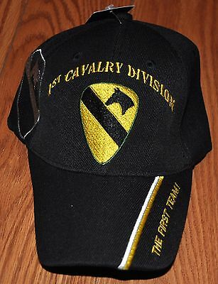 19a94935f248d Black 1st First Cavalry Division Army Hat Baseball Ball Cap The First Team