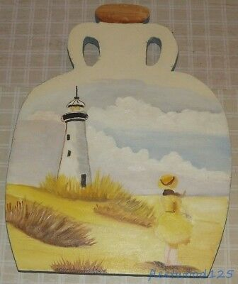 Hand Painted Lighthouse Decor on Wooden Jug Design Wall Hanging Plaque