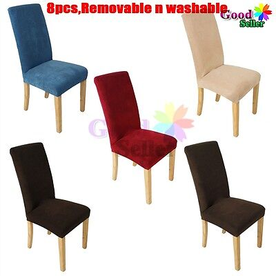 8 x Super Fit Protector Removable Washable Dining Chair Seat Cover Chairs Covers