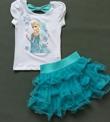 New Frozen Girls Disney Princess Elsa Blue Cosplay Costume Fancy Tutu Cake Dress