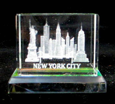 New York Souvenir NYC Skyline 3D Crystal Laser Etched Glass Paperweight Small
