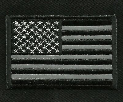 Reflective Usa American Flag Black Motorcycle Biker Jacket Vest Military Patch