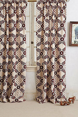 $396 New Anthropologie Home Decor Karelia Brocade Curtain Panel SET 2 Maroon Red