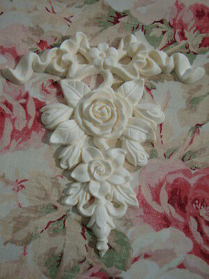 Shabby & Chic *Bow & Rose Floral Drop Applique* Furniture Applique Architectural