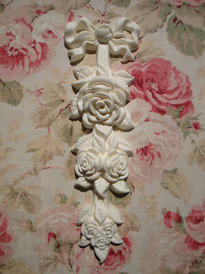Shabby & Chic Large Bow & Rose Drop Furniture Applique Architectual Pediment