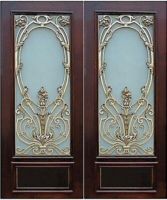 Art Nouveau Metal And Mahogany Door. Price Is For One Door