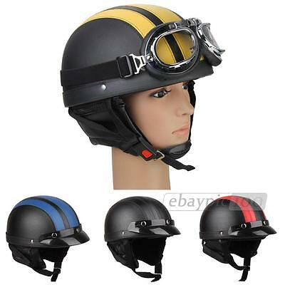 Retro Vintage Motorcycle Scooter Half Open Face Helmet Sun Visor Goggles Scarf