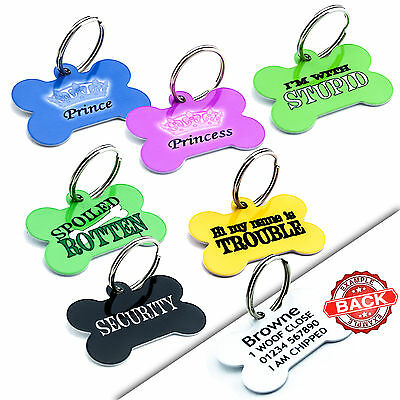 PET ID TAGS - Bone Dog Cat Tag - Prince Princess - Engraved FREE - Cute Designs