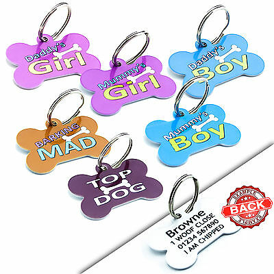 PET ID TAGS - Bone Dog Cat Disc-Boy Girl Cute Tags - PERSONALISED-Engraved FREE