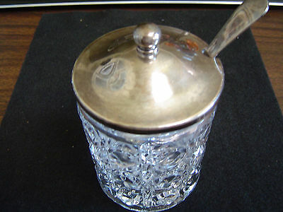 Silver Plated Crystal Sugar Bowl with EPNS A1 - Shefield, England Spoon
