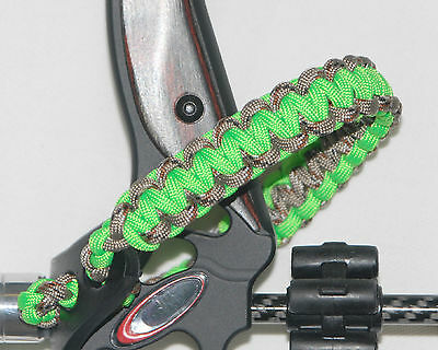 Neon Green & Camo Paracord Bow wrist Bling Sling strap for archery hunting bows