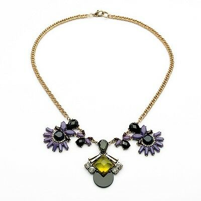 Women 2014 New Blooming Petal  Jeweled Color Fanned Pendant Statement Necklace