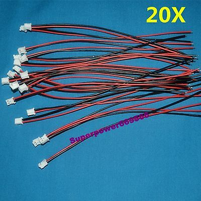 20pc 150mm L UL1007 26AWG Wire JST-PH-2P Connector for battery pack DIY repair