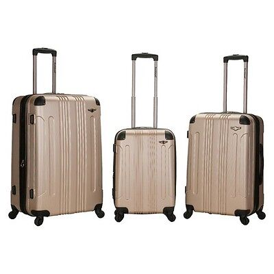 Rockland Luggage Sonic 3 Piece ABS Expandable Spinner Luggage Set - Champagne