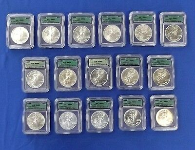 1986-2004 ICG MS69 16 1 OZ 999 Fine Silver American Eagle Liberty Dollar Set $1