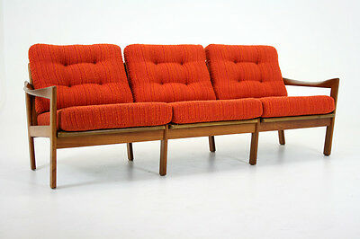 (C2227) Danish Mid Century Modern Teak Framed Sofa Couch by Illum Wikkelso