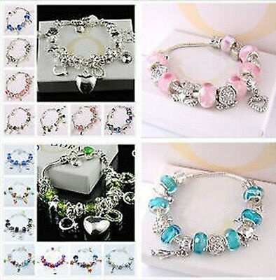 Hot! Fashion Jewelry Wholesale Solid silver Beads Charms Chain  Bracelet