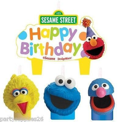 Sesame Street Birthday Party Supplies Candle Mini Moulded Pack Of 4