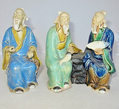"2 Antique Chinese Mud Men with Turquoise & Blue Flambe Drip Glazes  (5.65"")"