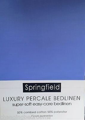 Helena Springfield King Size Fitted Sheet Soft 180T/c Percale In Ocean Blue