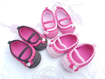 Baby Girl Infant First Pram Shoes Occasion Party Ballerina Pink Size 0-12 mths