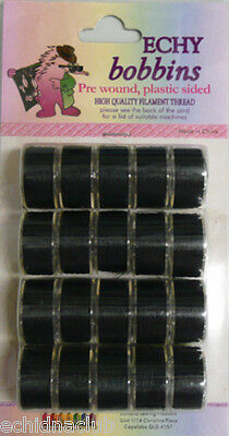 Echidna A Style Pre Wound Bobbins Black - Pack Of 20