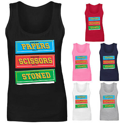 Womens Rizla Rolling Papers Scissors Stoned Funny Vest Tank Top NEW UK 8-18