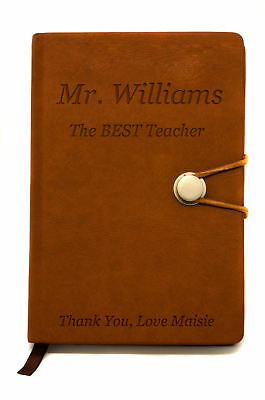 Personalised Faux Leather Teachers Gift Notebook Pad, Diary or Journal, Engraved