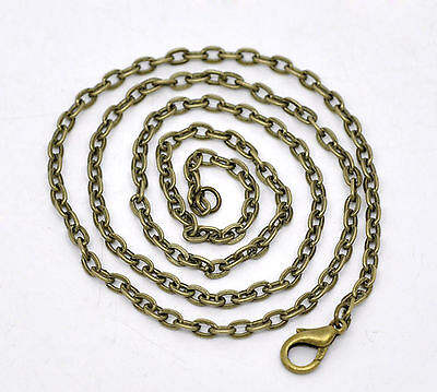 "Antique Bronze Trace Chain Necklaces with lobster clasp - 16"" 18"" 20"" 30"""