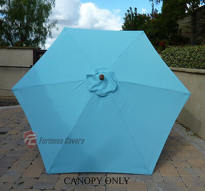 9ft Patio Outdoor Market Umbrella Replacement Canopy Cover Top 6 ribs Light Blue