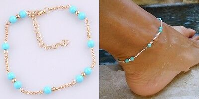 Handmade Blue Beads Foot Chain Anklet Foot Jewelry Women Fashion Barefoot Beach