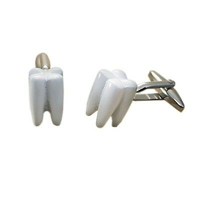Tooth Dentist Teeth Gift Cufflinks + Box & Cleaner