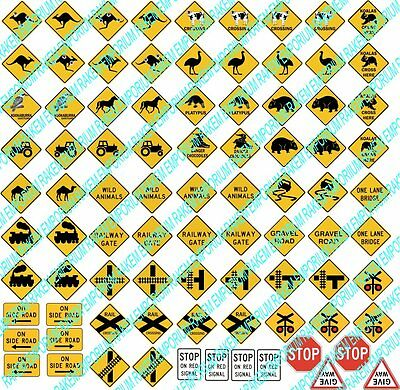 HO Scale Aussie Country Road Traffic Signs Model Railway - 86 Signs - HOCR1