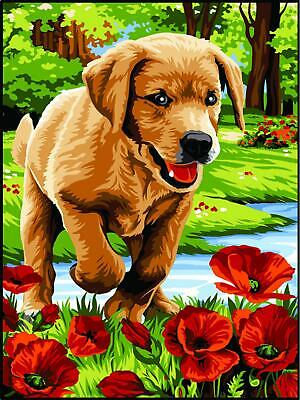 Margot de Paris Tapestry/Needlepoint Canvas Labrador in Poppies(Petites Fouleees