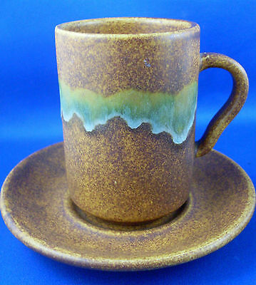 RAY COOK POTTERY Red Earth Terracotta Landscape Espresso Mug & Saucer EUC - Aust