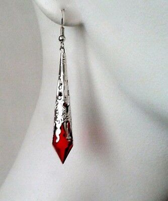 Pair Red Drop Silver Tone Filigree Earrings Victorian Steampunk Goth Style