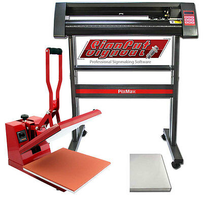 Vinyl Cutter Plotter Sublimation Heat Pressing Set / Flat Clam Press Signcut Pro