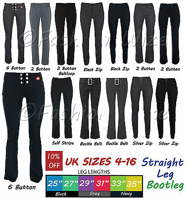 Girls School Trousers Black Grey Bootcut Sizes 4-16 Miss Sexies Miss Chief