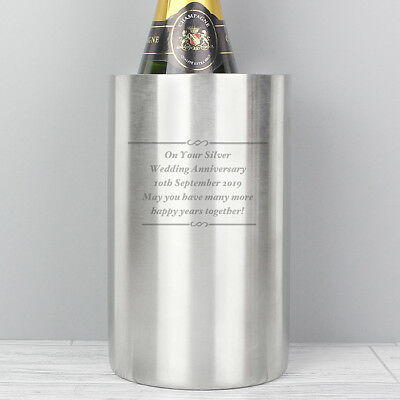 11th Wedding Anniversary Gift Personalised Engraved Stainless Steel Wine Cooler