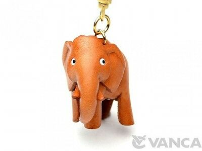 Elephant Handmade 3D Leather (L) Keychain Charm *VANCA* Made in Japan #56144