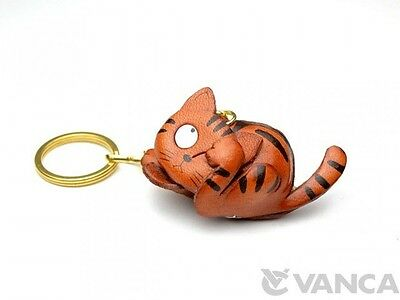 Cat Handmade 3D Leather (L) Keychain gift bag charm *VANCA* Made in Japan #56141